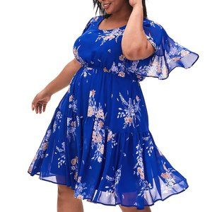 3X Torrid Blue Floral Chiffon Skater Party Dress